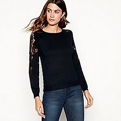 The Collection - Black lace sleeve jumper