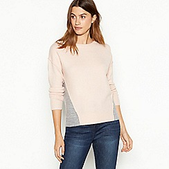 The Collection - Pale pink colourblock knitted jumper