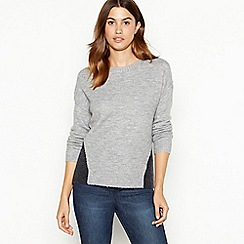 The Collection - Grey colourblock knitted jumper
