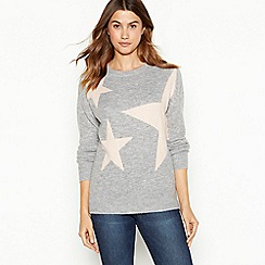 The Collection - Light pink star pattern crew neck jumper