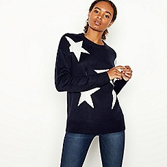 The Collection - Navy Star Pattern Crew Neck Jumper