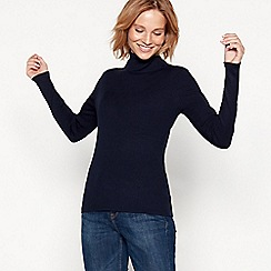 The Collection - Navy ribbed knit roll neck jumper