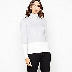 The Collection - Grey colour block ribbed roll neck jumper