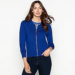 The Collection - Bright blue zip through long sleeve cardigan