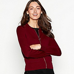 The Collection - Plum zip through long sleeve cardigan
