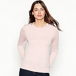 The Collection - Light pink zipped shoulder long sleeve jumper