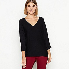 The Collection - Black batwing sleeve V-neck jumper