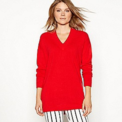 The Collection - Red supersoft V-neck long sleeve jumper