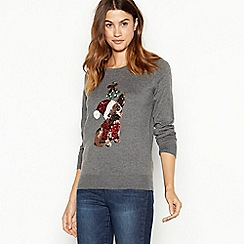 The Collection - Grey french bulldog sequin knitted Christmas jumper