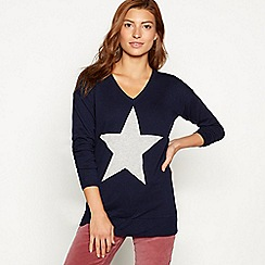 The Collection - Navy stripe star placement V-neck jumper