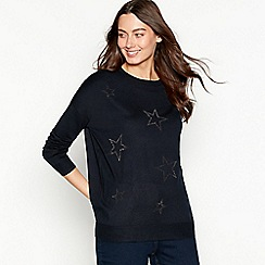 The Collection - Navy embellished long sleeve jumper