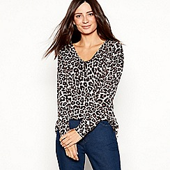 The Collection - Multicoloured leopard knit V-neck jumper