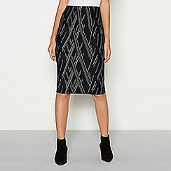 The Collection - Black zig zag textured knee length ponte skirt