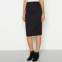 The Collection - Black diamond textured knee length ponte skirt
