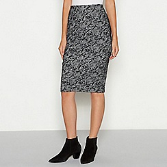 The Collection - Grey floral check print textured knee length skirt