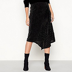 The Collection - Silver glitter stripe midi skirt