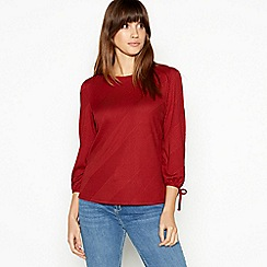 The Collection - Red Textured Stripe Top