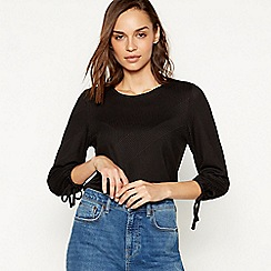 The Collection - Black textured stripe top