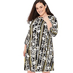 The Collection - Olive Floral Stripe Print Plus Size Knee Length Dress