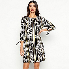 The Collection - Olive Floral Stripe Print Knee Length Dress