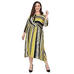 The Collection - Olive Stripe Print Twist Front Plus Size Midi Dress