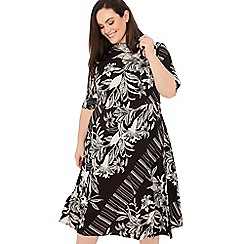 The Collection - Black Mixed Print Plus Size Midi Dress