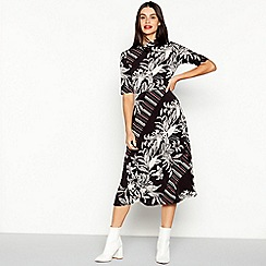 The Collection - Black Mixed Print Midi Dress