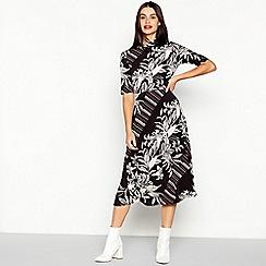 The Collection - Black Mixed Print Midi Dress