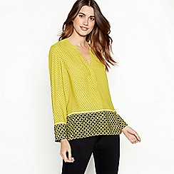The Collection - Yellow geometric print utility blouse
