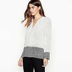 The Collection - Ivory geometric print utility blouse