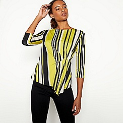 The Collection - Olive Green Twist Front Stripe Jersey Top