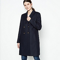 The Collection - Navy Double Breasted Coat with Wool