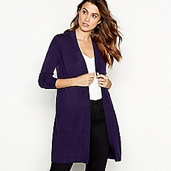 Principles - Dark purple edge to edge 'Ultrasoft' cardigan