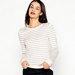 Principles - Pink Stripe Print Zip Shoulder Jumper