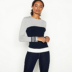Principles - Grey Zip Back Colour Block Jumper