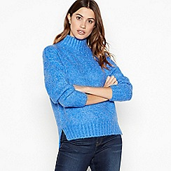 The Collection - Blue relaxed fit roll neck jumper