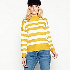 The Collection - Yellow stripe print high neck jumper