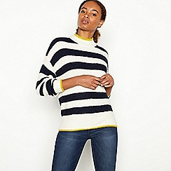 The Collection - Ivory Stripe Knitted High Neck Jumper