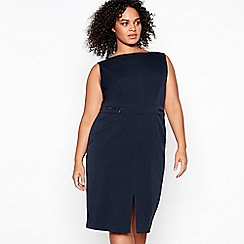 The Collection - Navy Knee Length Plus Size Suit Dress