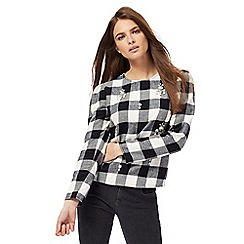H! by Henry Holland - Black and white checked embellished top