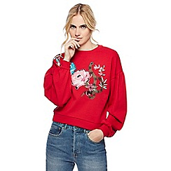 H! by Henry Holland - Red oriental floral embroidered sweater