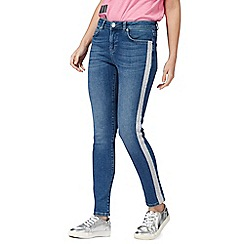 H! by Henry Holland - Blue mid wash glitter side skinny jeans