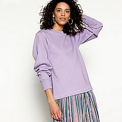 H! by Henry Holland - Mauve ruched sleeve cropped sweatshirt