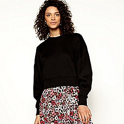H! by Henry Holland - Black ruched sleeve cropped sweatshirt