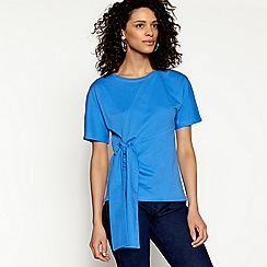 H! by Henry Holland - Mid blue tie front t-shirt
