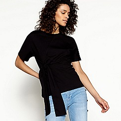 H! by Henry Holland - Black tie front t-shirt