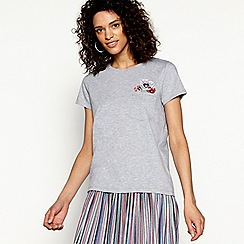 H! by Henry Holland - Grey cotton bug jewel pocket t-shirt