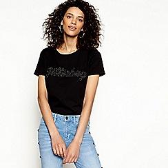 H! by Henry Holland - Black cotton jitterbug slogan t-shirt