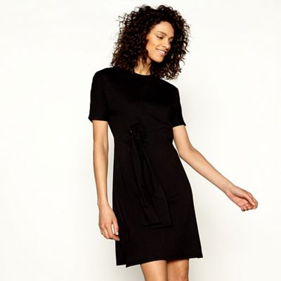 H! By Henry Holland   Black Jersey Tie Front Short Sleeve Mini Dress by H! By Henry Holland