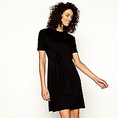 H! by Henry Holland - Black jersey tie front short sleeve mini dress